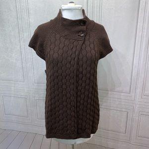 Izod Short Sleeve Turtle Neck Brown Sweater